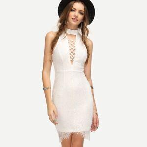 catturare nuovo arriva nuove foto Dettagli su Elegante comodo vestito corto mini abito tubino donna bianco  forato 4434