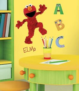 Image Is Loading Elmo Mural Wall Stickers Room Decor Decals