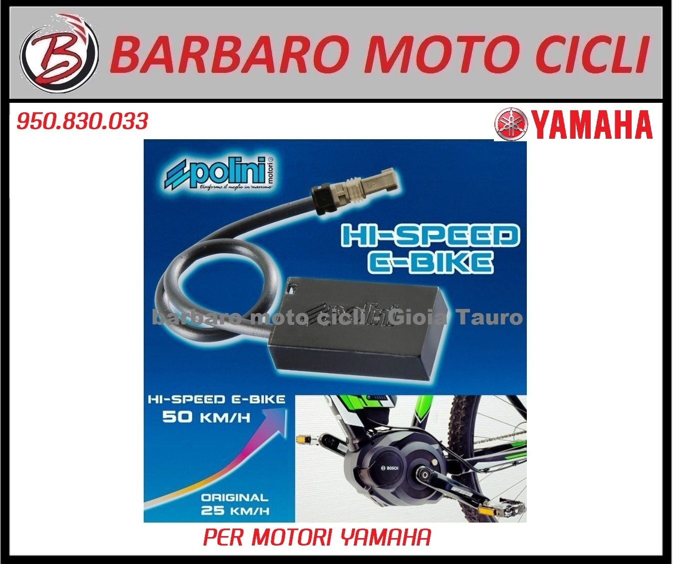 POLINI HI-SPEED Electric bike E-bike  YAMAHA SPEED' 50 km h 950.830.033  authentic quality