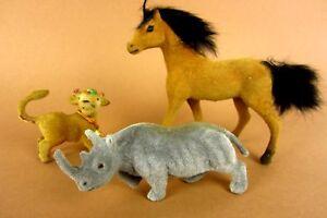 3 Alte Kleine Tierfiguren Nashorn Pferd Kuh 60er Filztiere Seltene Sammlerstücke Ungleiche Leistung