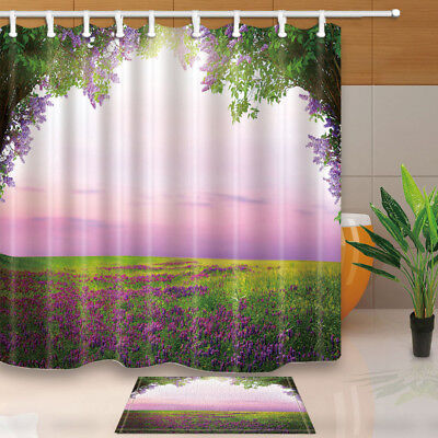 Dusk Fishing Boat  Home Bathroom Waterproof Fabric Shower Curtain Bath Mat Set