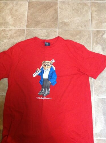 Red Vintage Polo  Bear sz.L skiing bear
