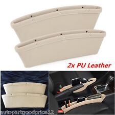 2x Beige PU Leather Car Seat Gap Slit Pocket Catch Catcher Storage Organizer Box