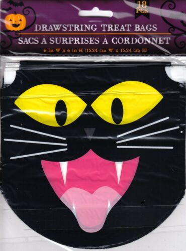 New Halloween Drawstring Candy Treat Bags 18 Count ~ Black Cat