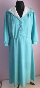 VTG-Ladies-Unbranded-Turquoise-White-Polka-Dot-Part-Lined-Tea-Dress-Size-14