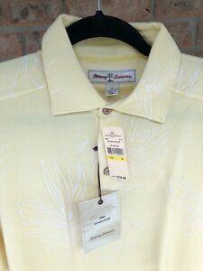 NWT-Tommy-Bahama-Mens-M-Las-Palmas-Collared-Polo-Yellow-Medallion-Retired-Print