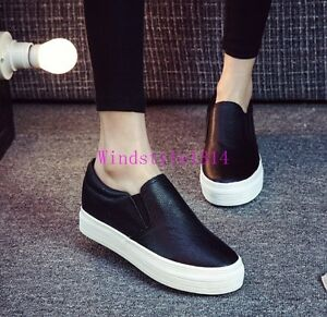 Fashion-Womens-Platform-Shoes-Slip-Ons-Round-Toe-Pumps-Loafers-Casual-Girls-Chic