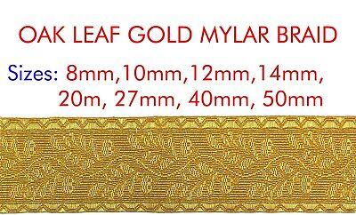 MILITARY UNIFORM COSTUME FANCY OAK LEAF GOLD MYLAR BRAID LACE FOR ARMY