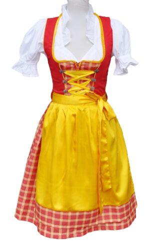 Set Rot Gelb Dirndl Mini Dirndl Trachtenkleid Minidirndl Oktoberfest 3 tlg