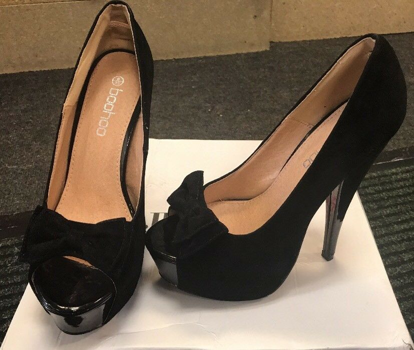BNWT BOOHOO Black Platform Peep Toe Suede High Heel shoes UK 6 Eur 39