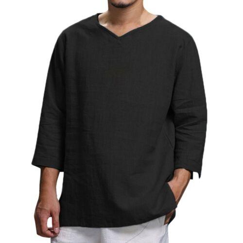 Men/'s Summer Casual Solid Cotton Hemp Top Comfortable Blouse Loose Top T-Shirt