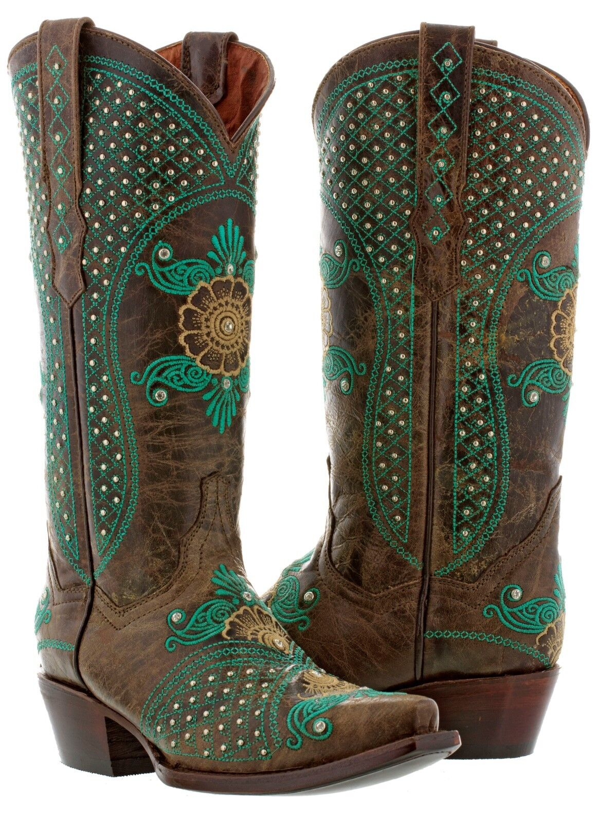 Womens Brown Wedding Leather Western Cowgirl Boots Studded Embroidered Snip Toe