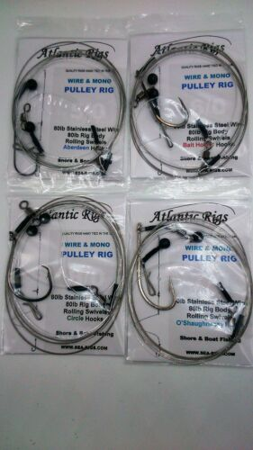 4 X SEA FISHING WIRE /& MONO PULLEY RIGS CONGER TOPE HUSS HOUNDS SPURDOG RAY