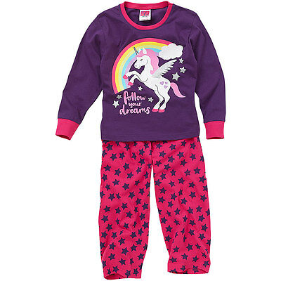 Cozy n Dozy Younger Girls Unicorn Rainbow Dreams Long Sleeve Cotton Pyjamas