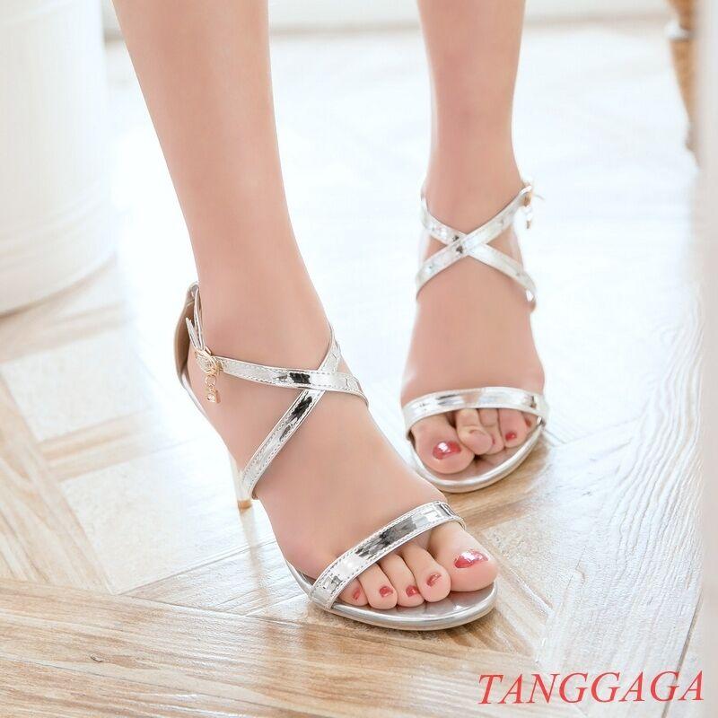 Womens Bridal Clubwear Sandals Stiletto High Heels Shoes Cross Strap Rhinestone