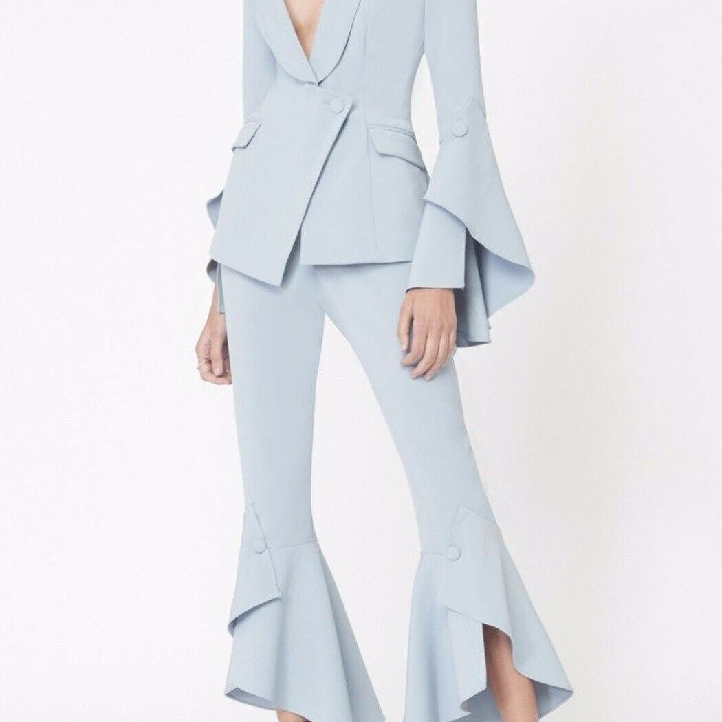 Lavish Alice bluee Frill Sleeved Blazer and Bell Ruffle Tailored Trousers Suit