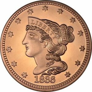 1 oz Copper Round - 1836 Braided Hair Cent