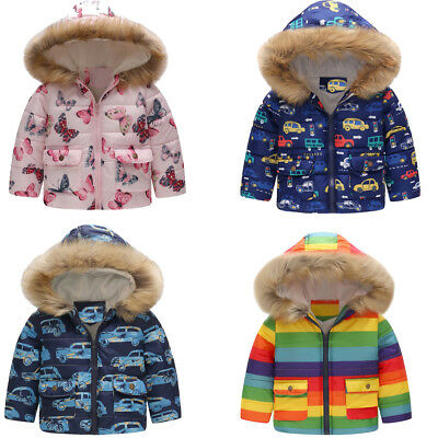 Toddler Girls Boys Butterfly Winter Warm Jacket Hooded Windproof Coat Colorful