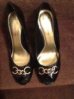 Red Herring Debenhams Black Peep Toe Chain High Heel Court Shoes Size 7/41