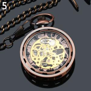 NE-Unisex-Antique-Mechanical-Skeleton-Steampunk-Mens-Pocket-Watch-Open-Case-Cha