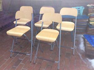5 Same Ikea 25tall Seat Bentwood Metal Folding Bar Stools No