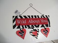 RED BLACK  WHITE WOOD WILD ABOUT YOU ANIMAL PRINT VALENTINES DAY SIGN DECORATION