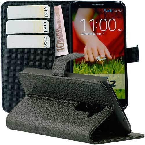 Tasche für LG G2 Kunstleder LGG2 Case Book Style - schwarz