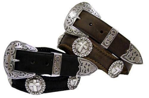 "Men/'s Western Leather Jean Belt 1-1//2/"" wide Black Brown New"