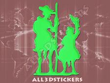 Pegatina Don Quijote y Sancho Panza 3D Relieve - Color Verde Electrico