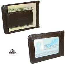 Men's Cowhide Leather Money Clip Wallet Credit Card ID Holder Front Pocket Case