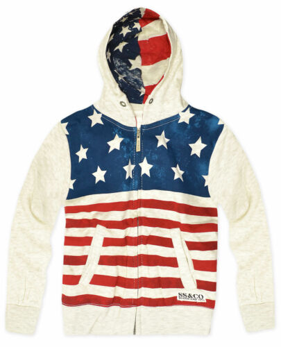 Boys USA Hoodie New Kids American Stars And Stripe Jumper Sweatshirt Age 2-13 Yr