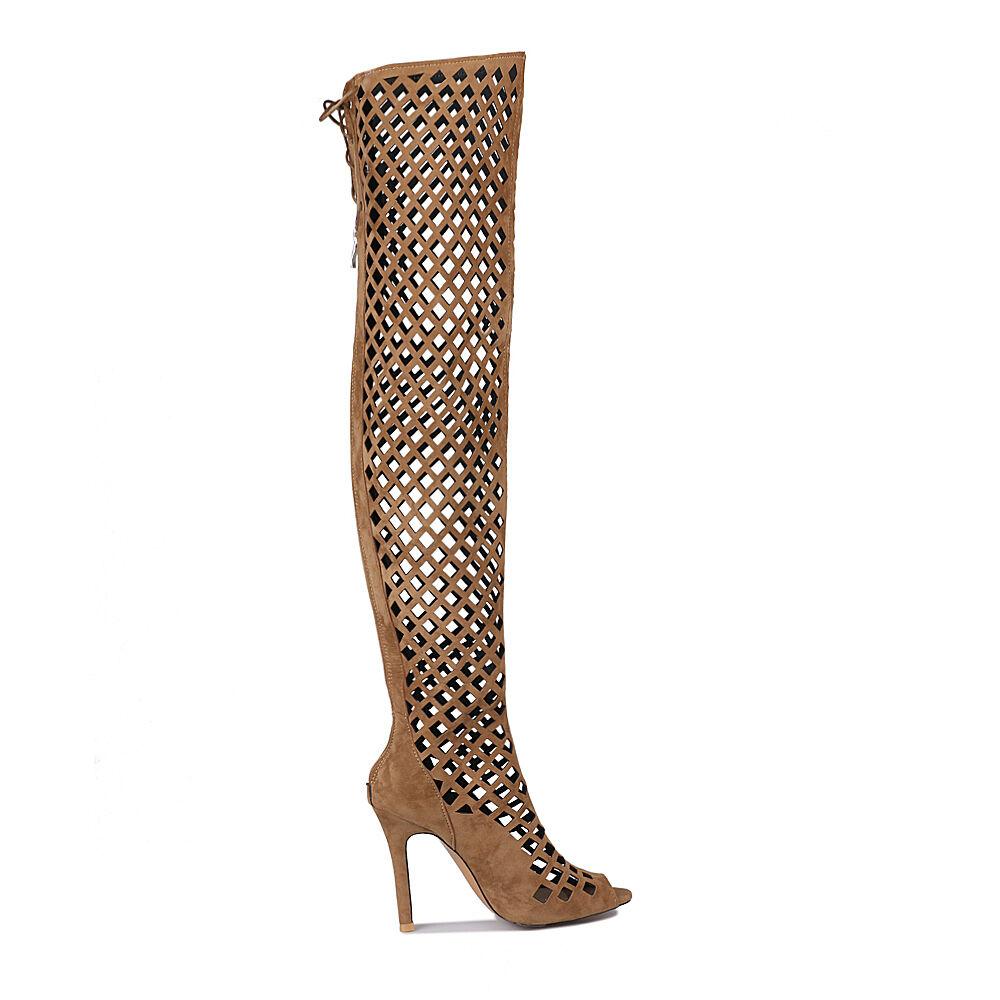 Zapatos Imitación Gamuza Tacones Altos huecos Cremallera Sobre la Rodilla botas Sandalias Puntera Abierta S
