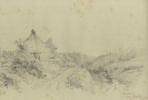 Ralph Stubbs, Sandsend Cottages – Original late 19th-century graphite drawing