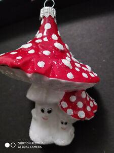 DOUBLE RED MUSHROOMS POLISH GLASS CHRISTMAS ORNAMENT WHITE POLKA DOTS