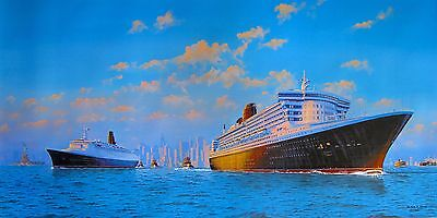 JAMES FLOOD CUNARD CRUISE SHIP QE2 & QM2 NEW YORK Hand Signed Giclee on Canvas