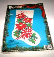 Bucilla Cross Stitch poinsettias 18 Christmas Stocking Customizable Craft Supplies