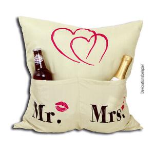 Details Zu Mrs Mr Kissen Motiv Hochzeit 43x43 Brautpaar Geschenk Verlobung Pärchen Hergo