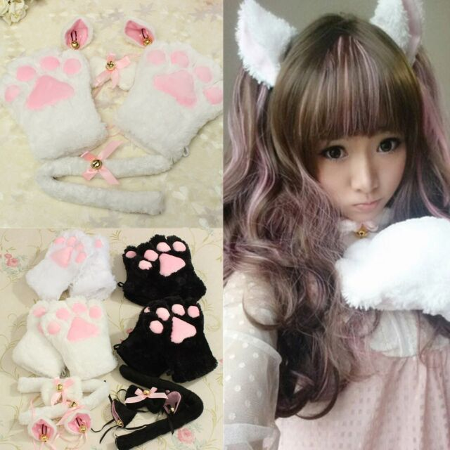 Kitten Cat Maid Cosplay Role Play Anime Costume Gloves Paw Ear Tail Tie Party