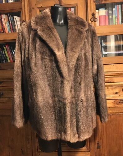 Genuine Short Real Vintage Fur Ladies Length Stunning jacket Coat Brown pAwqRd