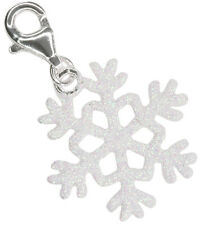 Snowflake Christmas Cute Lobster Clasp Sterling Silver Charm