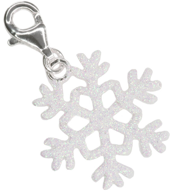 Snowflake Christmas Cute Lobster Clasp Clip Sterling Silver Charm