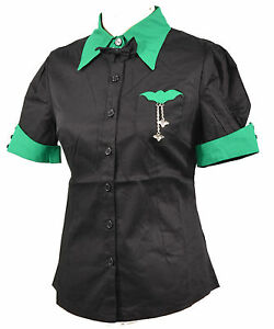 PLUS-SIZE-RETRO-BLACK-GREEN-BAT-TOP-DINER-SHIRT-WORK-FITTED-XXL-18-20-MUNSTERS