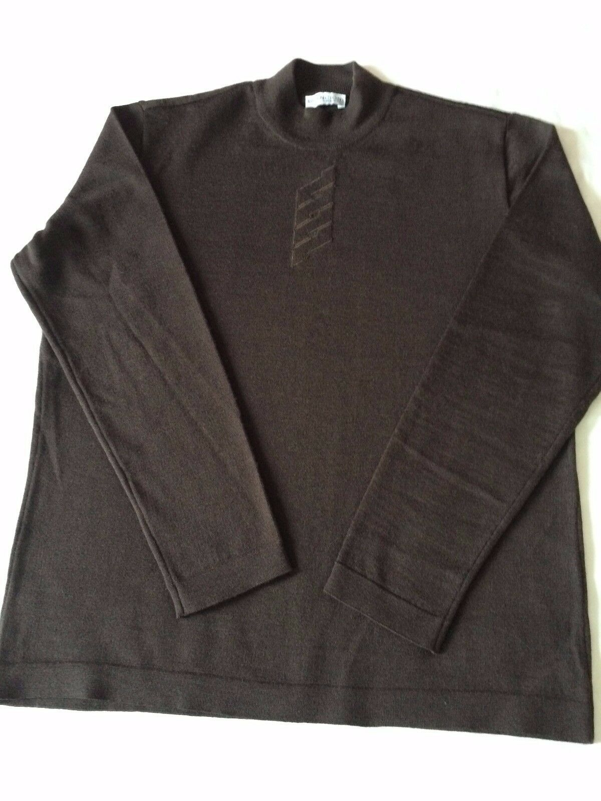 Men's Italian Designer Bilancioni Chocolate Brown 100%Wool Jumper Size L Excelle