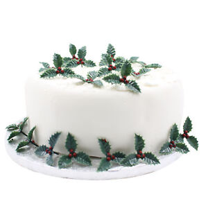 Details About 20 X Small Plastic Holly Christmas Cake Decoration Leaf Cookies Yule Log Cupcake