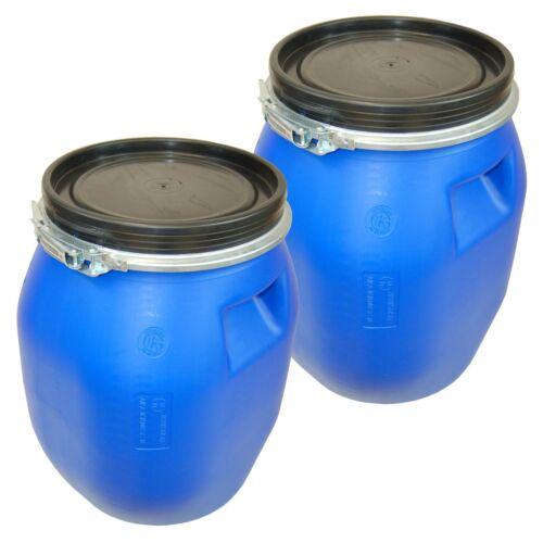 2 x Deckelfass 30 Liter Kunststoff blau Deckel mit Dichtung