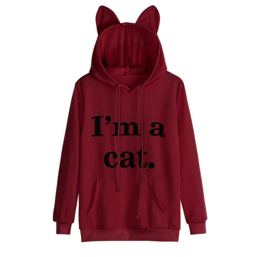 Womens Winter Fall Casual Long Sleeve Cat Hoodie Sweatshirt Pullover Tops Blouse