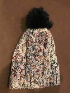 NEW Nordstrom womens juniors Melrose and Market knit winter hat faux fur trim