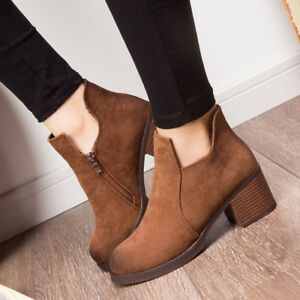 New-Women-039-s-Martin-Boots-Black-Autumn-Shoes-Work-Boots-Flat-Heel-Ankle-Boots
