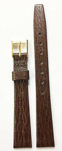 VINTAGE-12MM-PLAIN-BROWN-GENUINE-LEATHER-STRAP-BAND-GOLD-TONE-BUCKLE-NOS