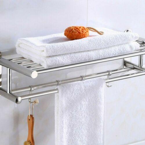 Shower Towel Holder Bathroom Shelf Bathroom Shelf with 5 Hooks 15 KG DE